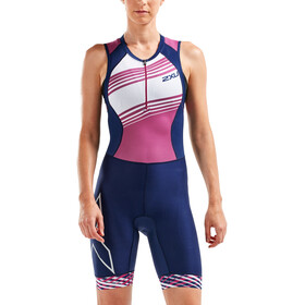 2XU Compression Trisuit Damen navy/very berry white lines